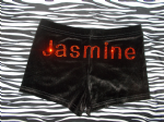 Velour personalised shorts personalised in ORANGE rhinestone double font